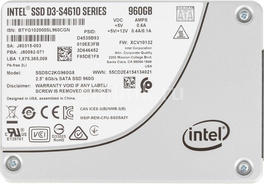 """SSD накопитель INTEL DC D3-S4610 SSDSC2KG960G801 960Гб, 2.5"""", SATA III [ssdsc2kg960g801 963347]"""