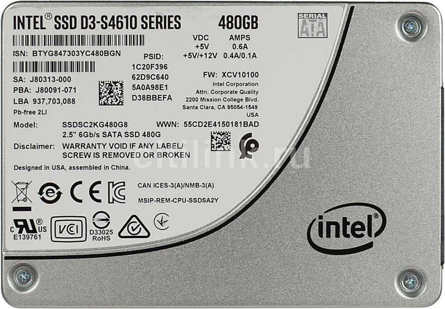 """SSD накопитель INTEL DC D3-S4610 SSDSC2KG480G801 480Гб, 2.5"""", SATA III [ssdsc2kg480g801 963346]"""