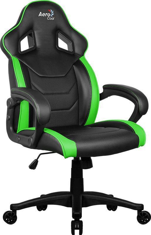 Кресло игровое AEROCOOL AC60C AIR-BG, на колесиках, ПВХ/полиуретан, черный/зеленый