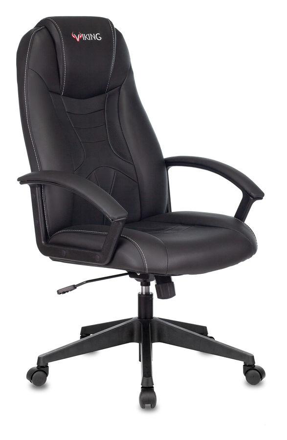 Кресло игровое БЮРОКРАТ Viking-8, на колесиках, искусственная кожа, черный [viking-8/black]