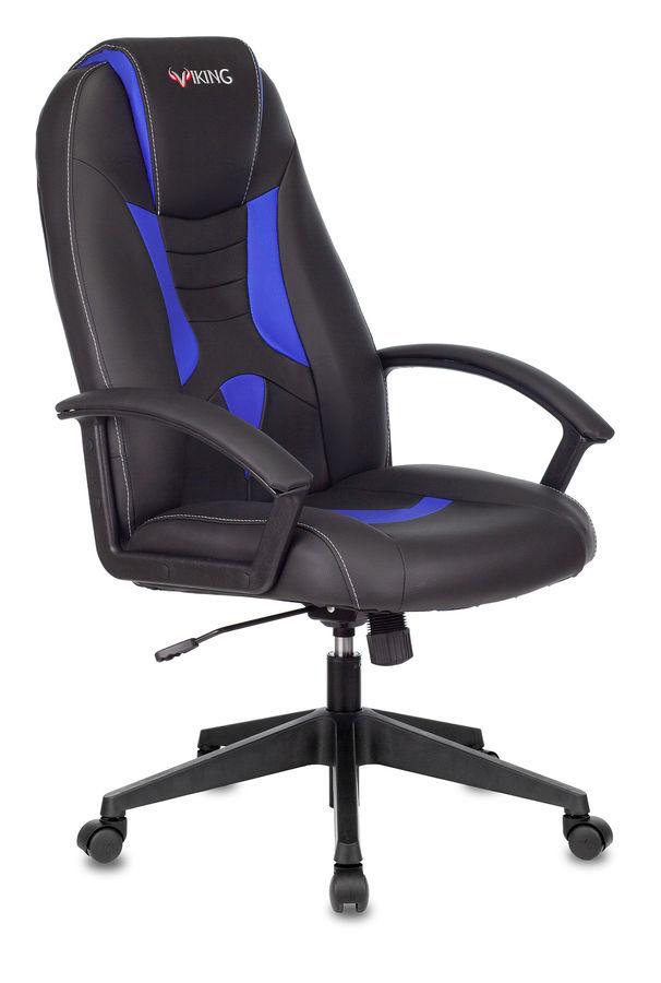 Кресло игровое БЮРОКРАТ Viking-8, на колесиках, искусственная кожа, черный/синий [viking-8/bl+blue]