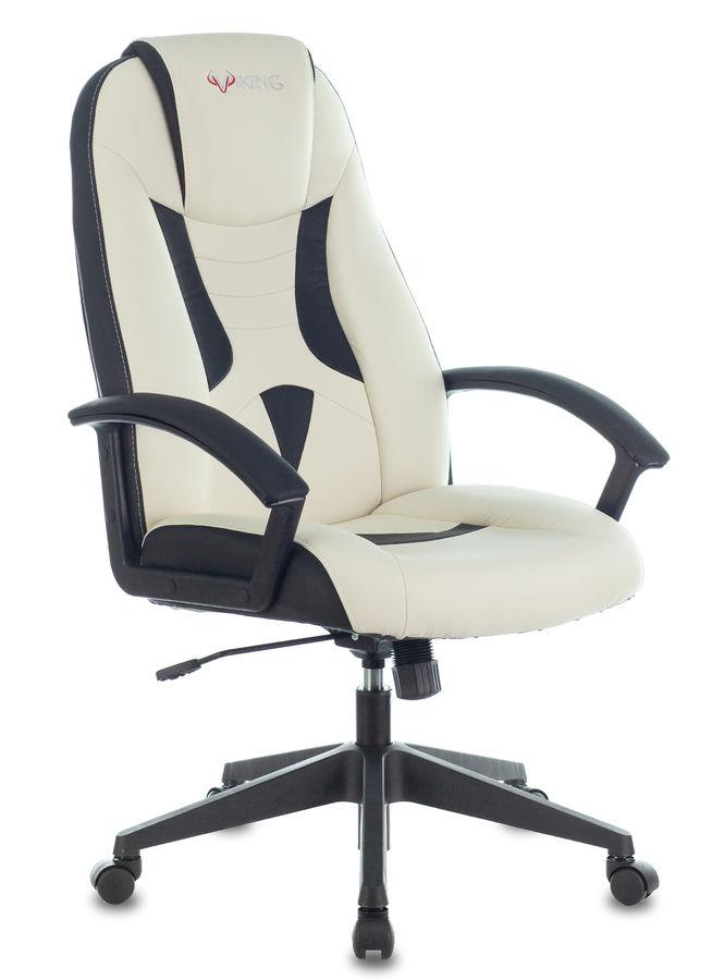 Кресло игровое БЮРОКРАТ Viking-8, на колесиках, искусственная кожа, белый/черный [viking-8/wh+black]