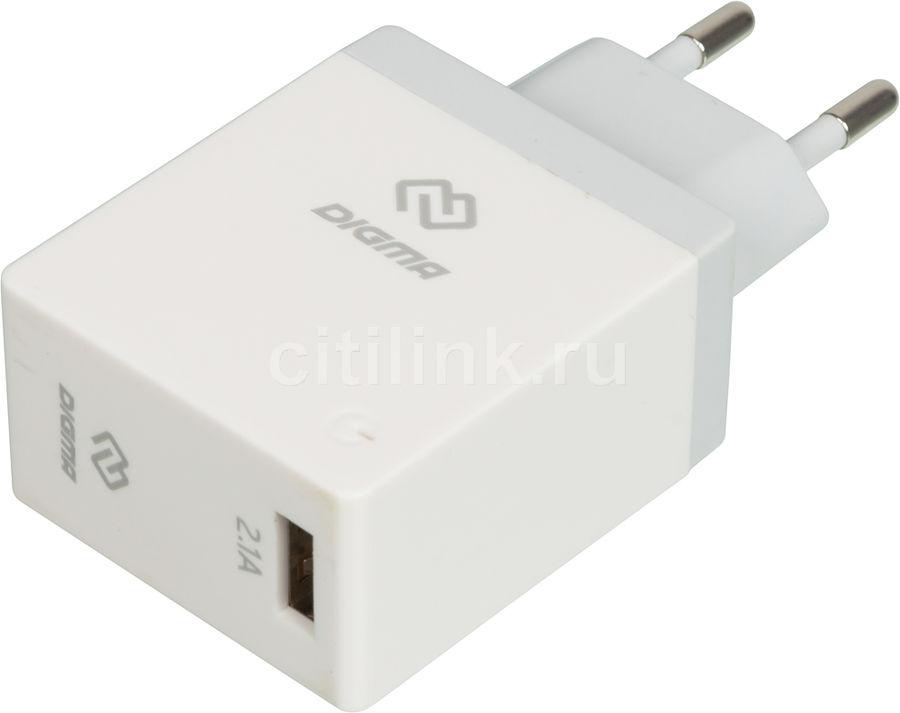 Сетевое зарядное устройство DIGMA DGWC-1U-2.1A-WG,  USB,  2.1A,  белый