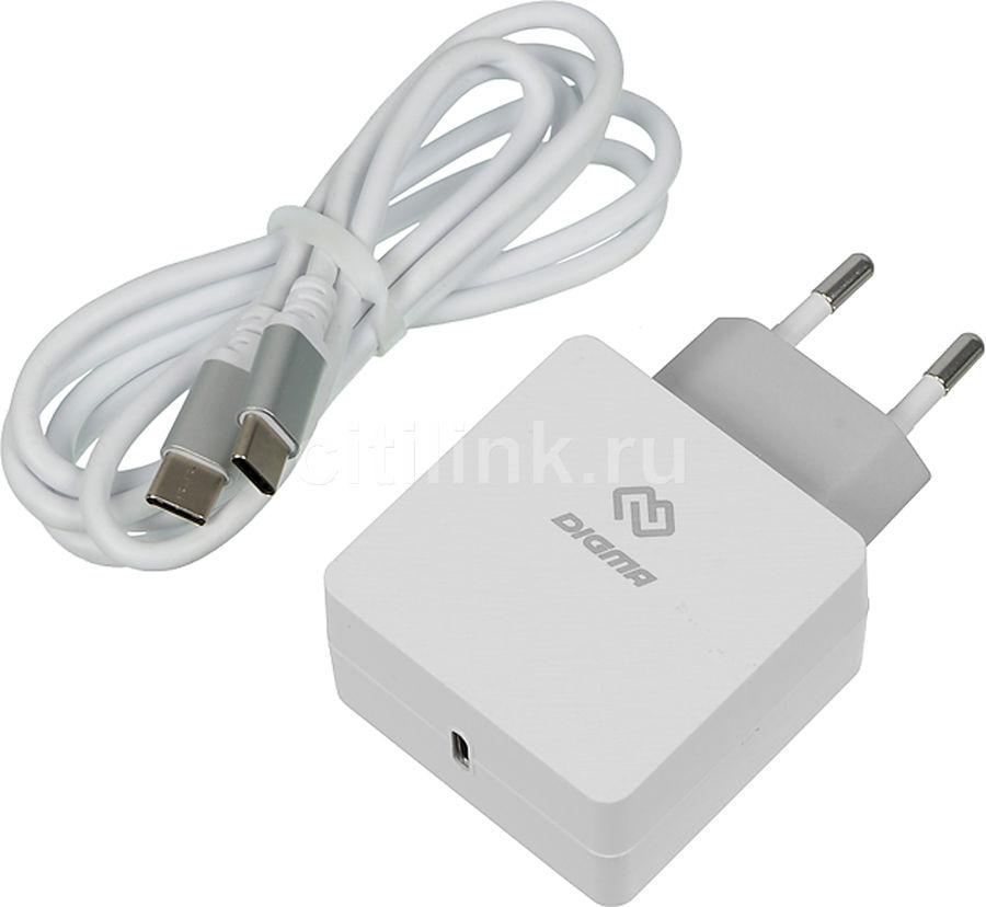 Сетевое зарядное устройство DIGMA DGPD-18W-WG,  белый