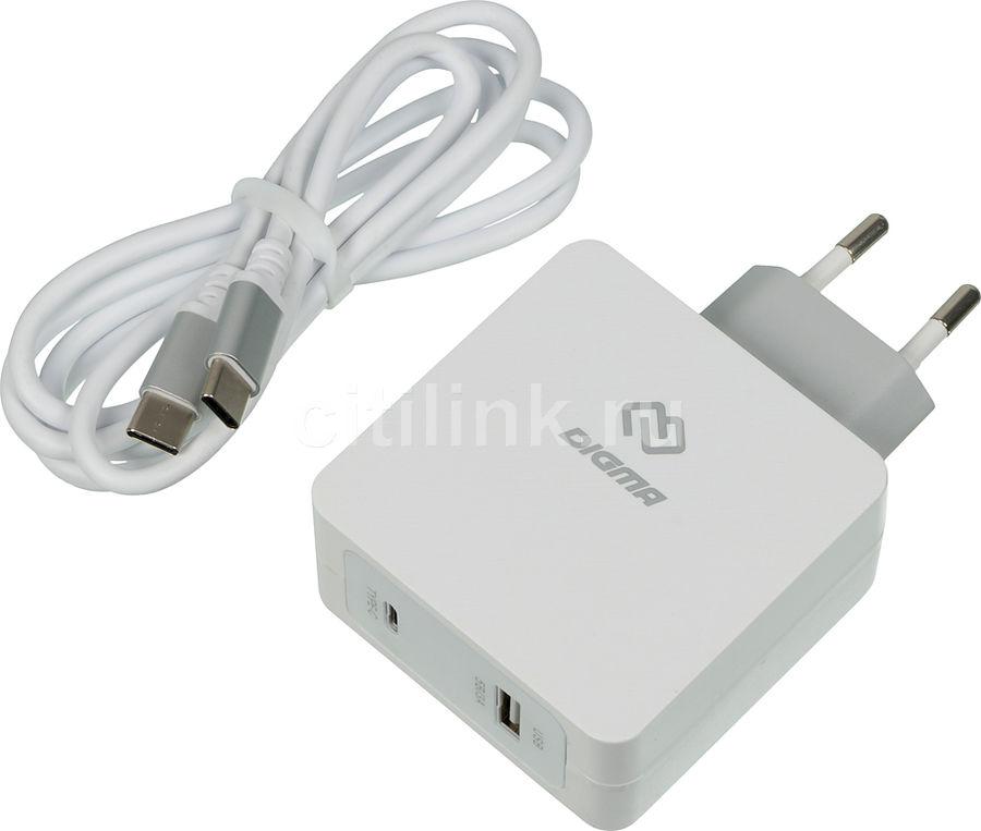 Сетевое зарядное устройство DIGMA DGPD-45W-WG,  белый