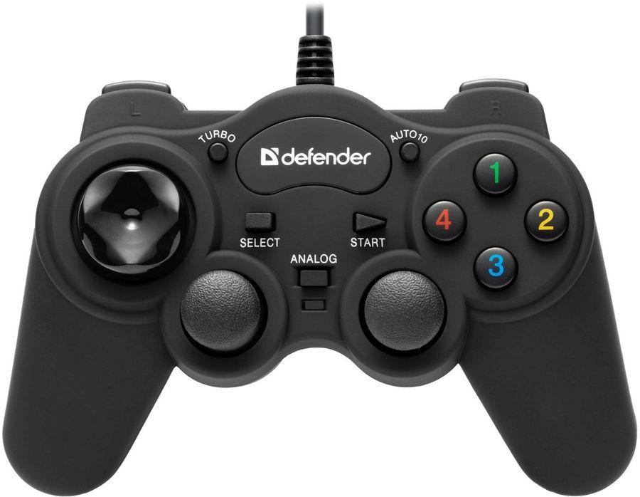 Геймпад проводной DEFENDER Game Racer Turbo RS3 черный [64251]