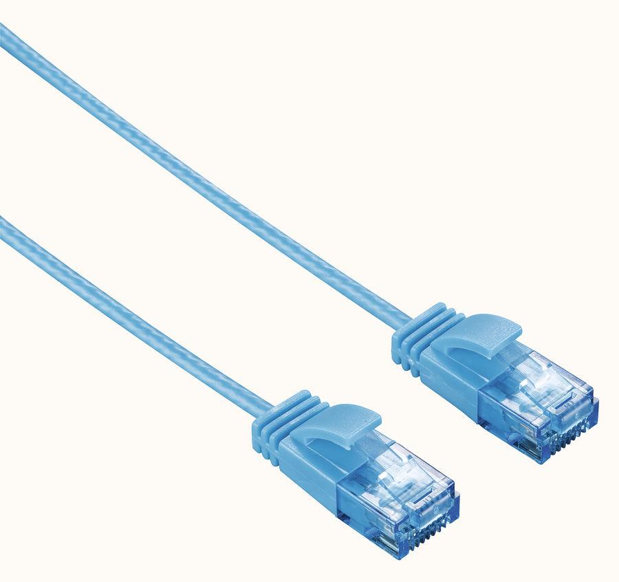 Патч-корд HAMA Slim-Flexible UTP, cat.6, 0.75м, 4 пары, 1 шт,  синий
