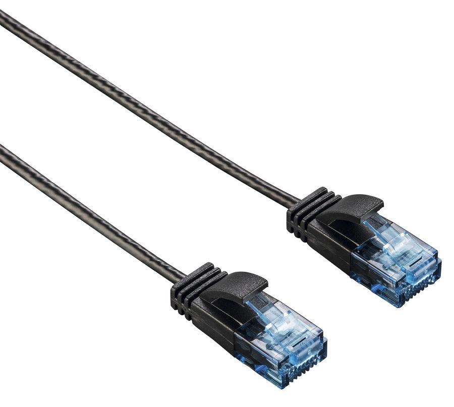 Патч-корд HAMA Slim-Flexible UTP, cat.6, 1.5м, 4 пары, 1 шт,  черный