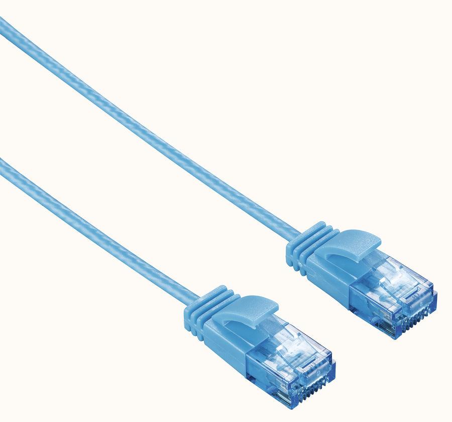 Патч-корд HAMA Slim-Flexible UTP, cat.6, 1.5м, 4 пары, 1 шт,  синий