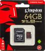 Карта памяти microSDXC UHS-I U3 KINGSTON Canvas React 64 ГБ, 100 МБ/с, Class 10, SDCR/64GB,  1 шт., переходник SD вид 1