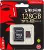 Карта памяти microSDXC UHS-I U3 KINGSTON Canvas React 128 ГБ, 100 МБ/с, Class 10, SDCR/128GB,  1 шт., переходник SD вид 1