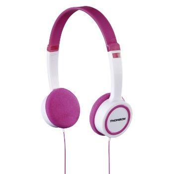 Наушники детские THOMSON HED1105P, 3.5 мм, накладные, розовый/белый [00132468]