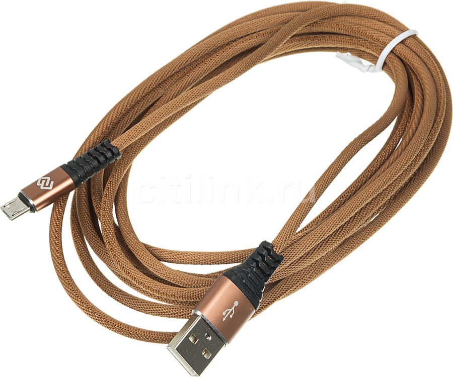 Кабель DIGMA USB A (m),  micro USB B (m),  3м,  коричневый