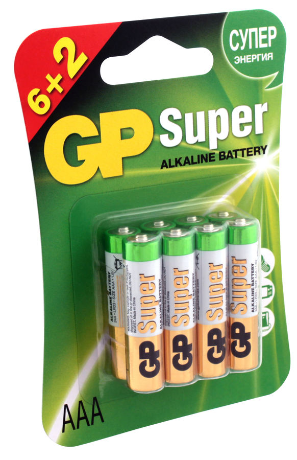 Батарейка GP Super Alkaline 24A LR03, 8 шт. AAA батарейка gp super alkaline аaа lr03 4 шт 24а bc4
