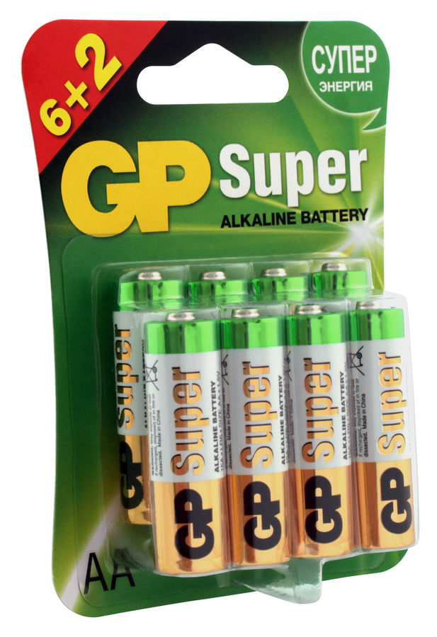 AA Батарейка GP Super Alkaline 15A LR6,  8 шт.