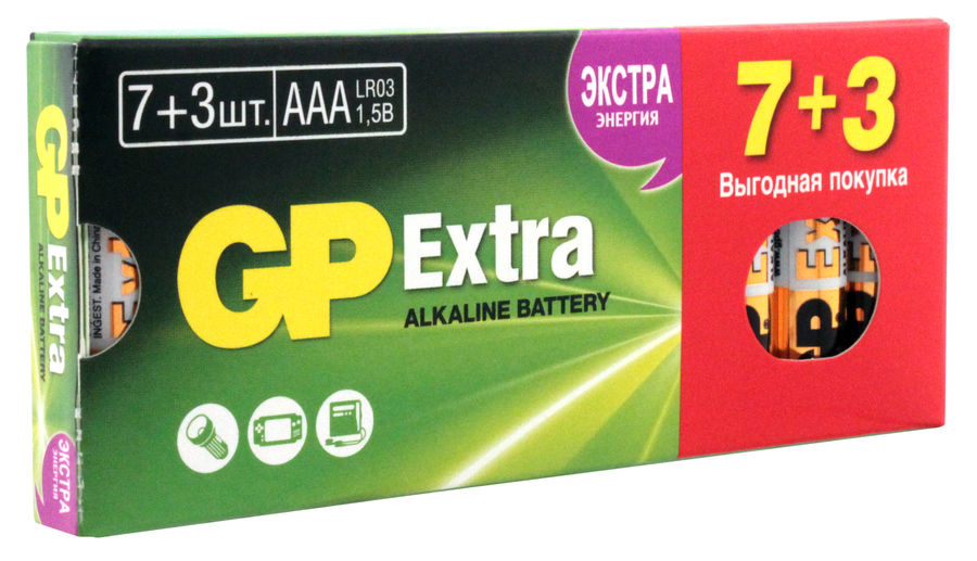AAA Батарейка GP Extra Alkaline 24AX LR03,  10 шт.