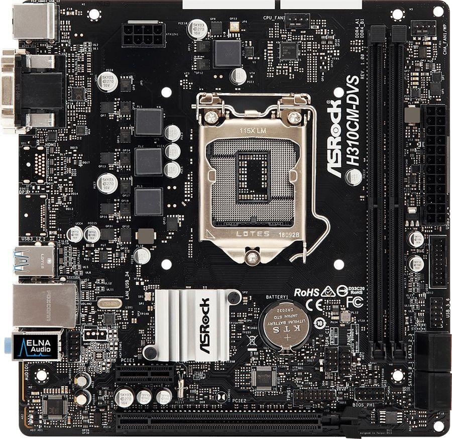 Материнская плата ASROCK H310CM-DVS, LGA 1151v2, Intel H310C, mATX, Ret