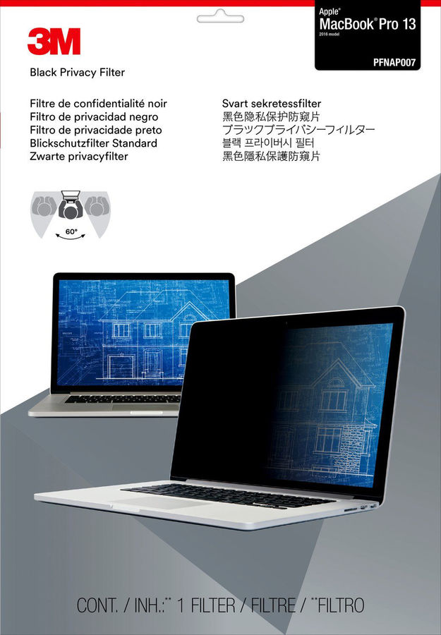 """Пленка защиты информации 3M PFNAP007 для ноутбука Apple MacBook Pro 13.3"""", 16:10, черный [7100115681]"""