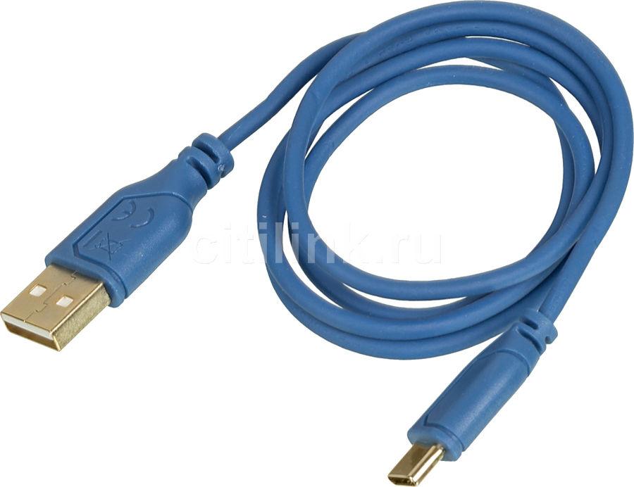 Кабель HAMA Flexi-Slim,  USB Type-C (m),  USB A(m),  0.75м,  синий [135785]