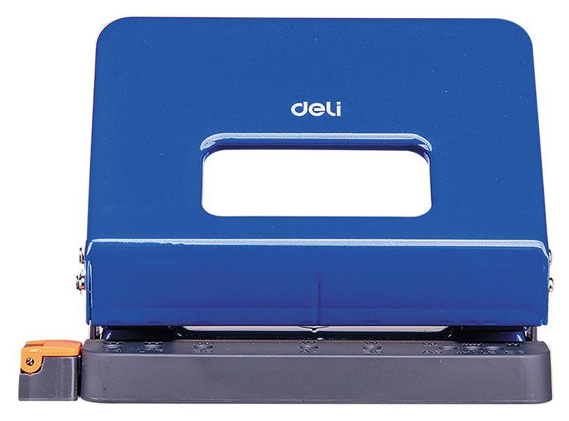 Дырокол Deli E0141blue макс.:15лист. металл синий отв.:2 с линейкой