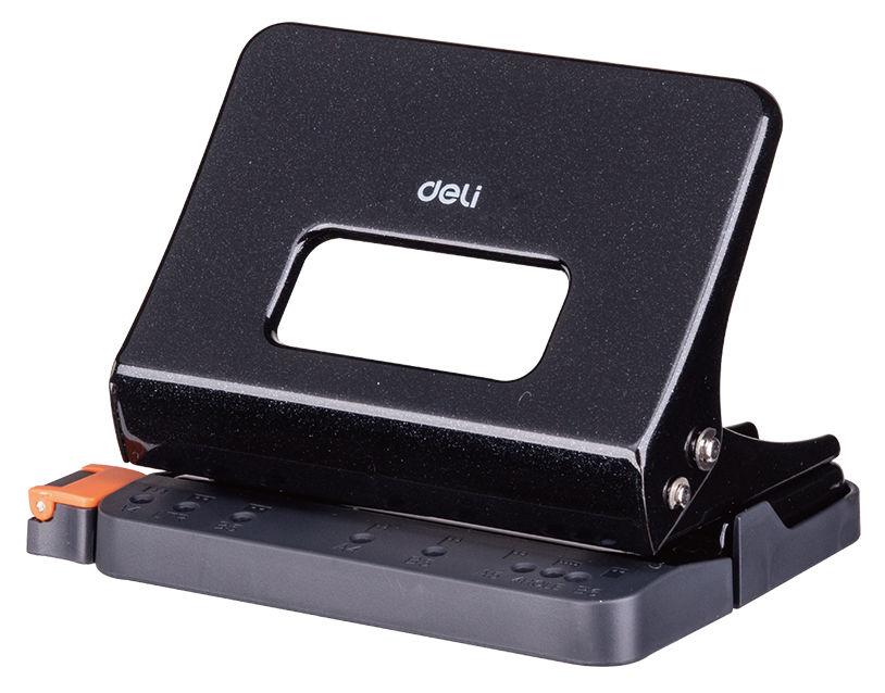 Дырокол Deli E0141black макс.:15лист. металл черный отв.:2 с линейкой