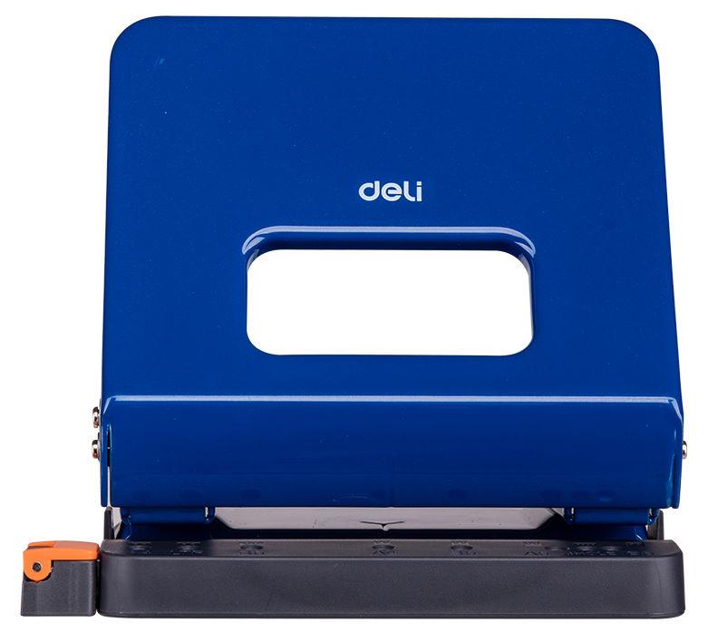 Дырокол Deli E0142blue макс.:25лист. металл синий отв.:2 с линейкой