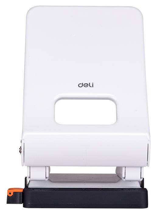 Дырокол Deli E0143white макс.:45лист. металл белый отв.:2 с линейкой