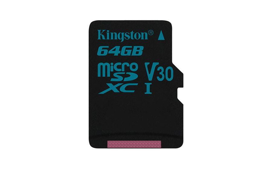 Карта памяти microSDXC UHS-I U3 KINGSTON Canvas Go 64 ГБ, 90 МБ/с, Class 10, SDCG2/64GBSP,  1 шт.