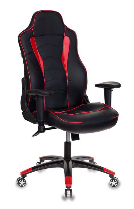 Кресло игровое БЮРОКРАТ Viking-3, на колесиках, искусственная кожа, черный/красный [viking-3/bl+red]