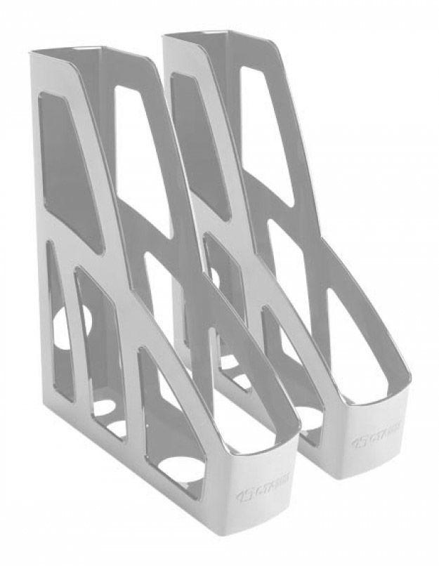Набор лотков вертикальный Стамм ЛТ127 Лидер 80х250х370мм серый пластик
