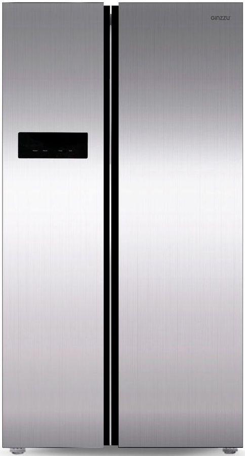 Холодильник GINZZU NFK-605,  двухкамерный, нержавеющая сталь