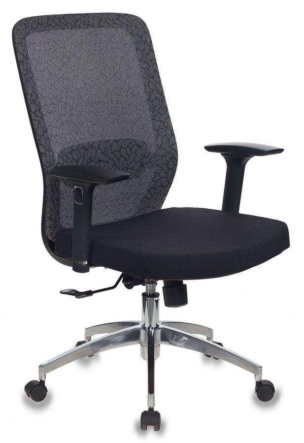 Кресло БЮРОКРАТ MC-715, на колесиках, сетка/ткань, черный/серый [mc-715/kf-1/26-b01]
