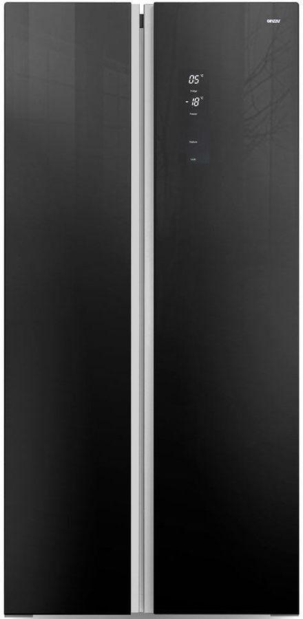 Холодильник GINZZU NFK-465,  двухкамерный, черное стекло