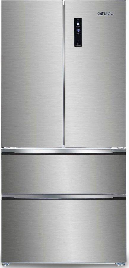 Холодильник GINZZU NFK-570Х,  трехкамерный, черное стекло
