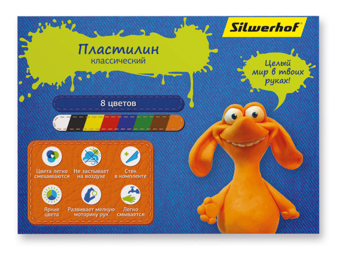 Пластилин Silwerhof 417003/956143-08 Джинсовая кол-ция 8цв. 160гр. стек картон.кор.