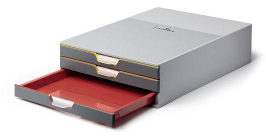 Бокс для документов Durable 7603-27 Varicolor 3 выдвижных ящика 280x95x356мм ассорти/серый