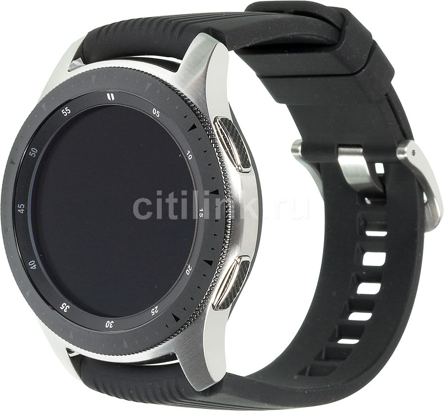 "Смарт-часы SAMSUNG Galaxy Watch,  46мм,  1.3"",  серебристый / черный [sm-r800nzsaser]"