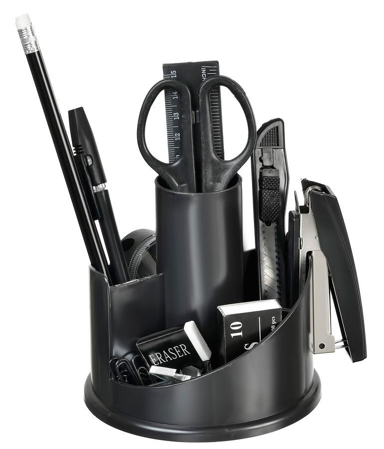 Настольный набор SILWERHOF Вращающийся настольный набор, пластик, 11 предметов, черный [172016-01]