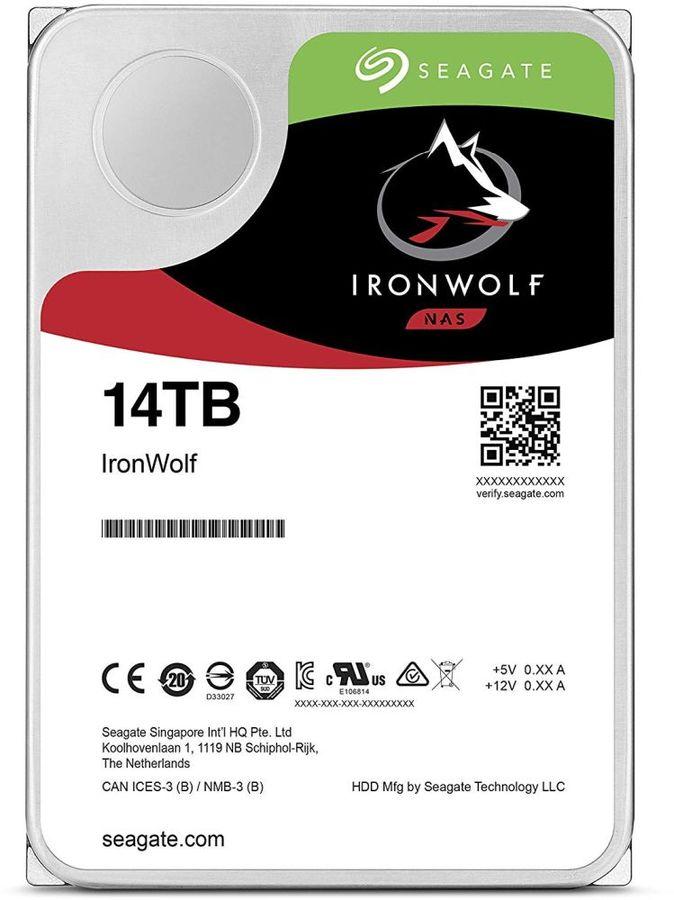"Жесткий диск SEAGATE Ironwolf ST14000VN0008,  14Тб,  HDD,  SATA III,  3.5"""