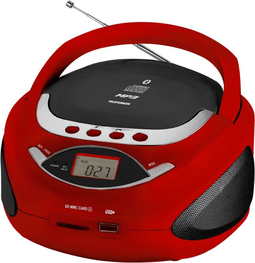 Аудиомагнитола TELEFUNKEN TF-CSRP3494B,  красный