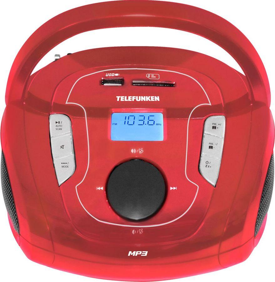 Аудиомагнитола TELEFUNKEN TF-SRP3471B,  красный