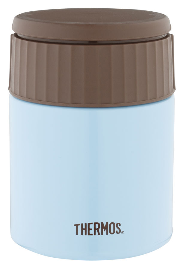 Термос THERMOS JBQ-400-AQ, 0.4л, голубой/ коричневый