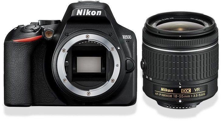 Зеркальный фотоаппарат NIKON D3500 kit ( 18-55mm f/3.5-5.6 VR AF-P),  черный
