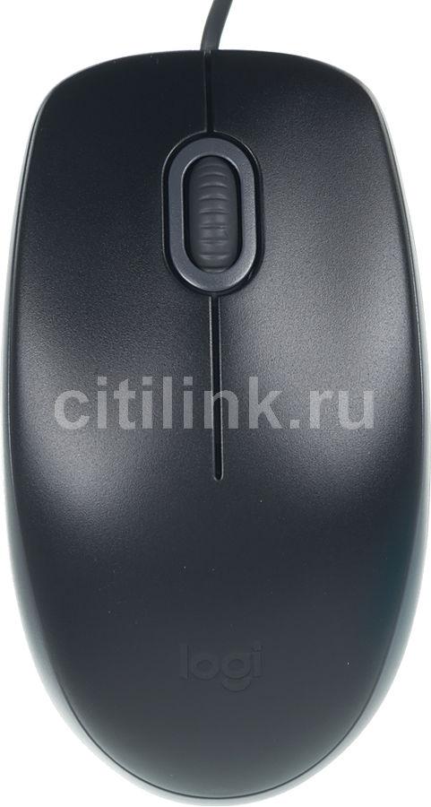 Мышь LOGITECH B110 SILENT, оптическая, проводная, USB, черный и серый [910-005508]