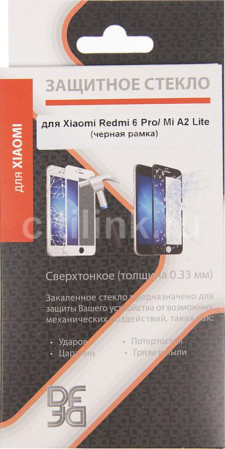 Защитное стекло для экрана DF xiColor-35  для Xiaomi Redmi 6 Pro/Mi A2 Lite,  1 шт, черный [df xicolor-35 (black)]