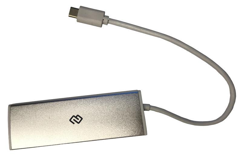 Хаб (разветвитель) DIGMA HUB-4U3.0-UC-S, серебристый