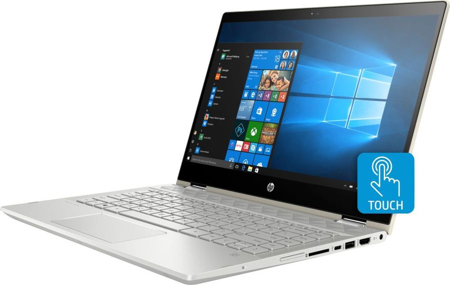 """Ноутбук-трансформер HP Pavilion x360 14-cd1003ur, 14"""",  IPS, Intel  Core i7  8565U 1.8ГГц, 12Гб, 1000Гб,  128Гб SSD,  nVidia GeForce  Mx130 - 4096 Мб, Windows 10, 5CR28EA,  золотистый"""