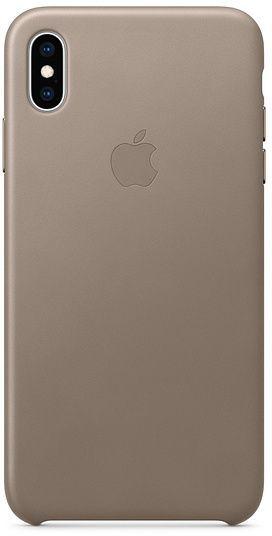 Чехол (клип-кейс) APPLE Leather Case, для Apple iPhone XS Max, темно-бежевый [mrwr2zm/a]