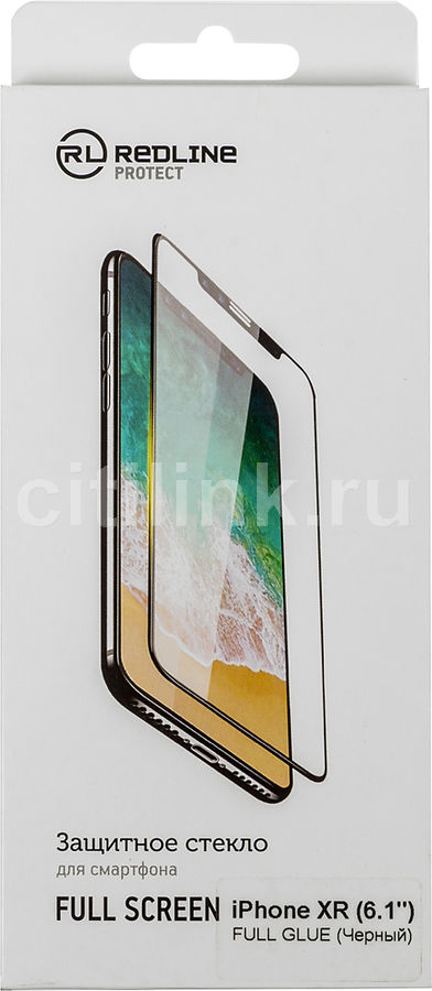 Защитное стекло для экрана REDLINE Full Glue  для Apple iPhone XR,  1 шт, черный [ут000016086]
