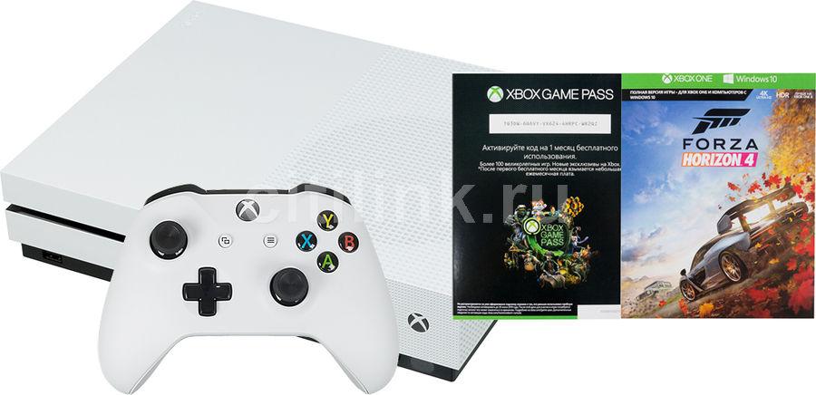 Игровая консоль MICROSOFT Xbox One S с 1 ТБ памяти, игрой Forza Horizon 4, Абонемент 1 месяц Game Pass и 14 дней пробной подписки Xbox Live Gold.,  234-00562, черный